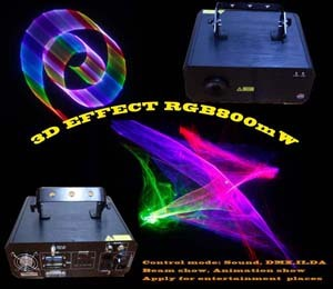 3d Effect Rgb 800mw Animation Laser Show With Pc Control