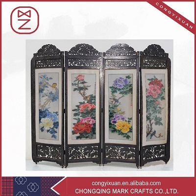 4 Panel Folding Screen Room Divider Antique Imitation Wooden Craft