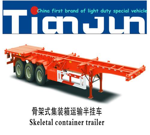 40t Tri Alxe 20ft Skeleton Container Semi Trailer Transport