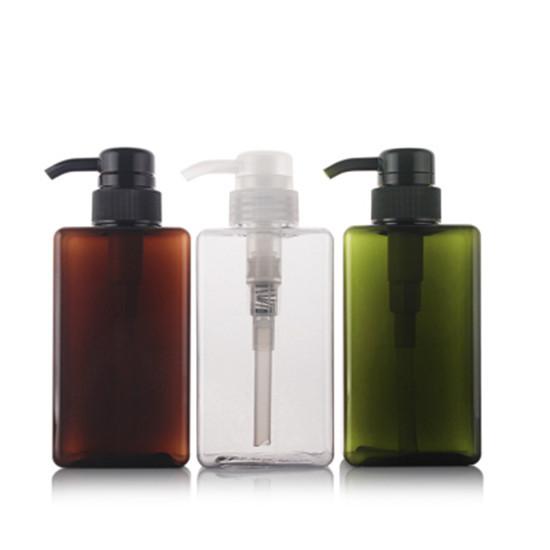 450ml Plastic Square Petg Lotion Bottle Shampoo Pump Package