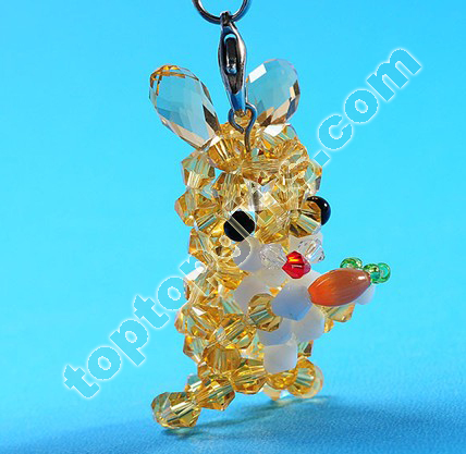 4mm Bicone Crystal Beaded Rabbit Charms