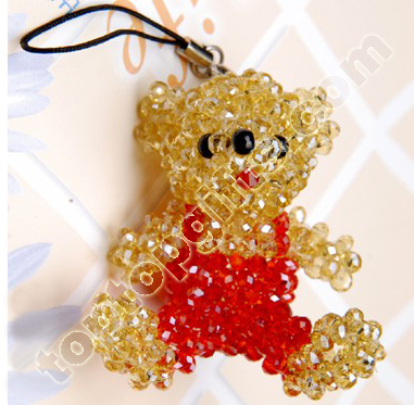 4mm Bicone Crystal Beaded Teddy Bear Charm Decoariton