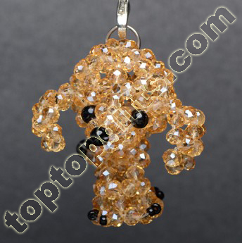 4mm Rondelle Crystal Beaded Poodle Dog Charm Decoariton