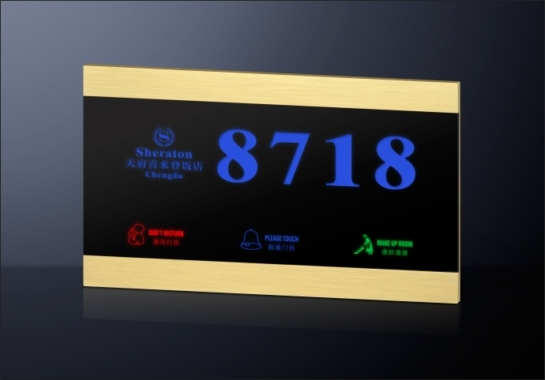 Able Best Selling Wireless Hotel Room Numbers Display Electronic Doorplate