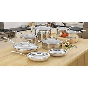 All Clad Master Chef Styles14 Piece Stainless Steel Cookware Set New