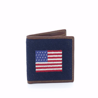 An American Flag On Needlepoint Wallets