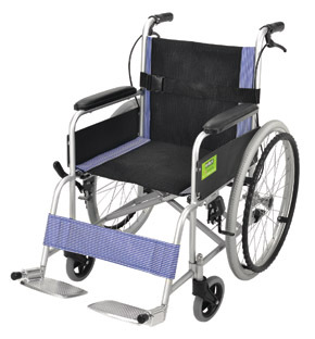 Attendant Propelled Transport Wheelchair Blue