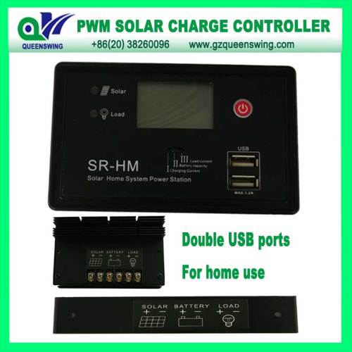 Auto12v 24v 10a Pwm Solar Charge Controller With 2 Usb Port