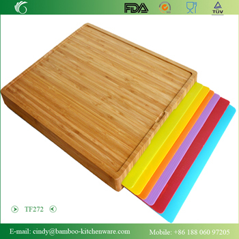 Bamboo Cutting Board With 6 Pcs Removable Pp Mats
