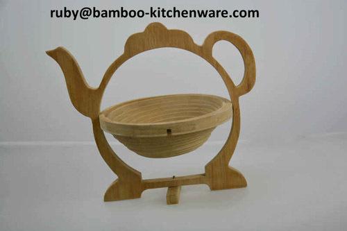 Bamboo Wooden Tea Pot Folding Collapsible Fruit Basket Board Mat