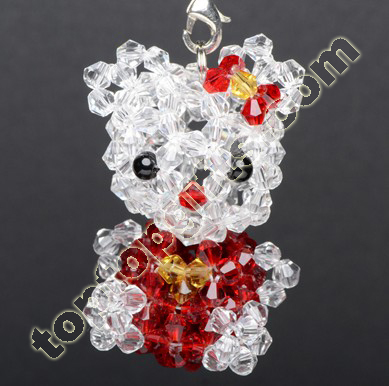 Bicone Crystal Beaded Kitty Cat Charms