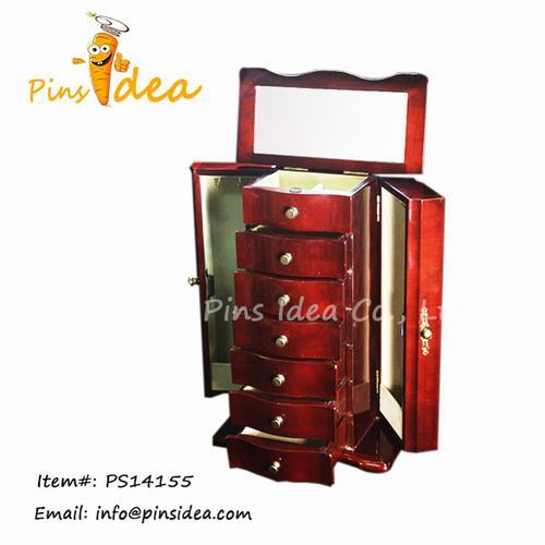 Big Sized Wooden Jewelry Cabinet With Necklace Hooks Ring Rolls Velvet Lini