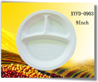 Biodegradable Plastic Plates 9 Inch 3 Compartments Xyfd 0903