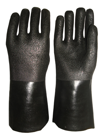 Black Double Dipped Pvc Glove Rough Sandy Finish