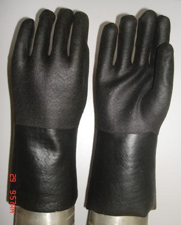 Black Double Dipped Pvc Glove Sandy Finish Rolling Lines Dozen