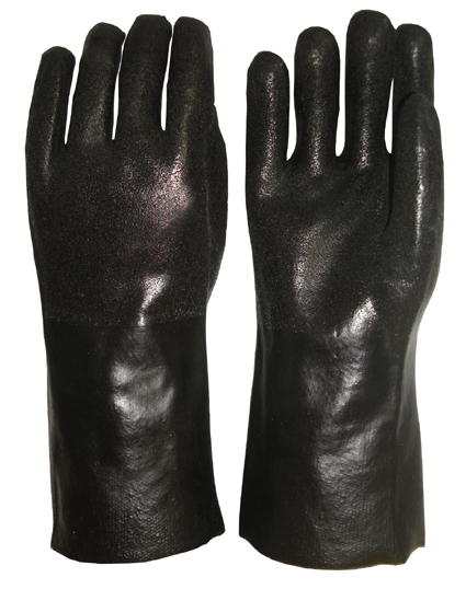 Black Double Dipped Pvc Glove Sandy Finish