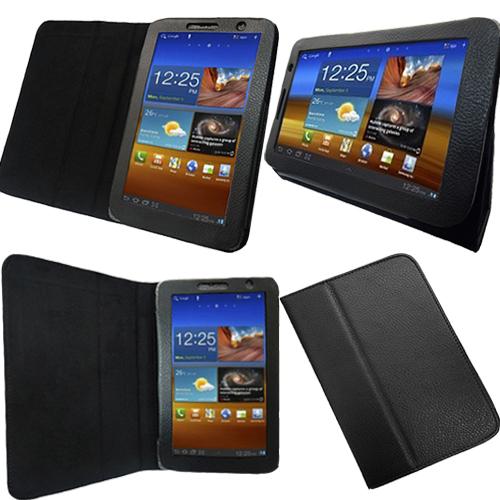 Black Leather Folio Case Cover Samsung Galaxy Tab 7 0 Plus