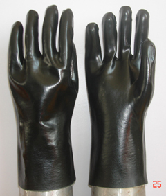 Black Pvc Glove Gauntlet Smooth Finish