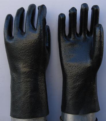 Black Pvc Glove Knit Wrist Rough Finish