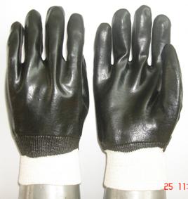 Black Pvc Glove Knit Wrist Smooth Finish