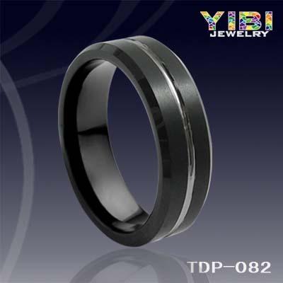 Black Tungsten Ring Men S Brushed Stripe Matte Finish T