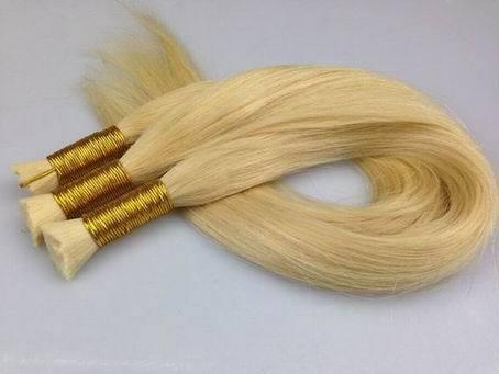 Blonde Human Hair Bulk Platinum For Salon
