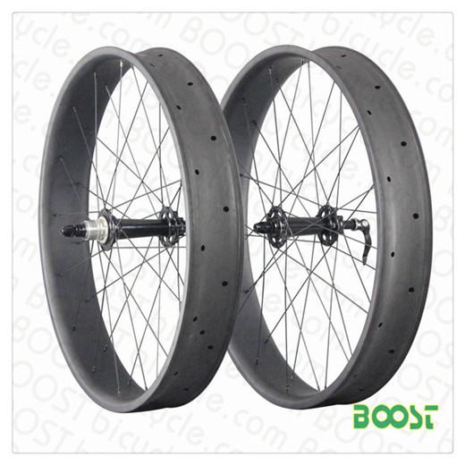 Boostbicycle 26 Inch Carbon Fat Bike Wheelset 100mm Width 25mm Depth Hookle