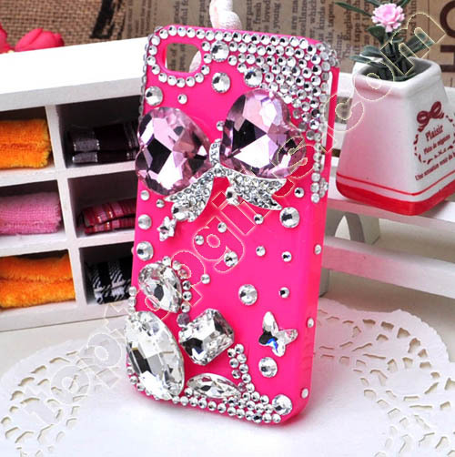 Bowknot Rhinestone Iphone4 Hard Case Cover Decoration