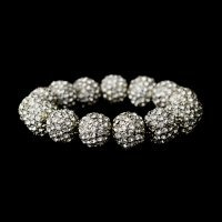 Bracelet Silver Clear 12mm Pave Ball
