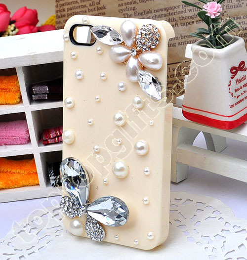 Butterfly Iphone Hard Case Cover With Pearls