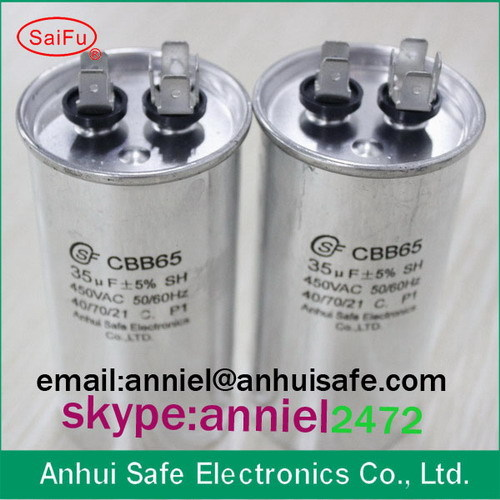 Capacitor Cbb65 35uf 450vac For Air Conditioner Use Round Dual Run