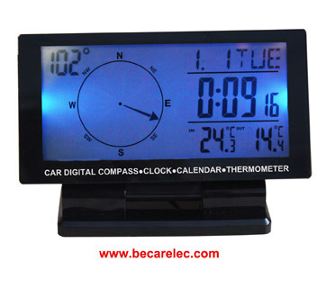 Car Digital Compass With Clock Thermometer Cd60