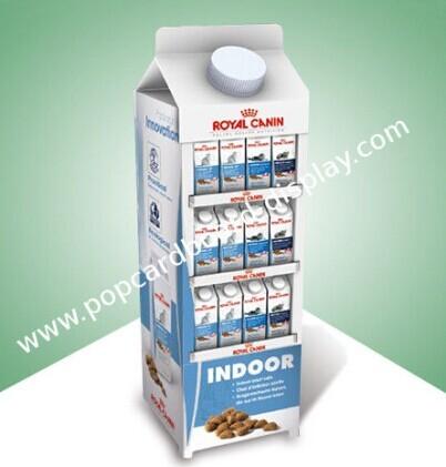 Cardboard Display Racks Floor Stand For Milk