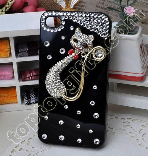 Cat Rhinestone Iphone4 Shell Case