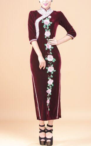 Chinese Tradtional Cheongsam Qipao Long Dress Evening