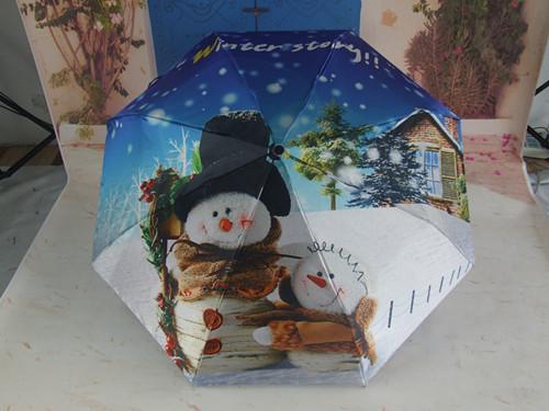 Christmas Snow Man Printing Umbrella