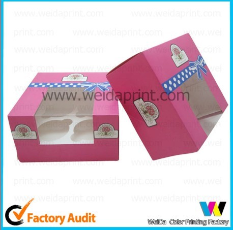 Classic Small Cheap Paper Cupcake Box With Pvc Window