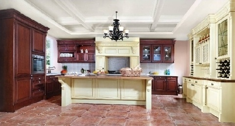 Classical Cherry Solid Wood Kitchen Cabinet