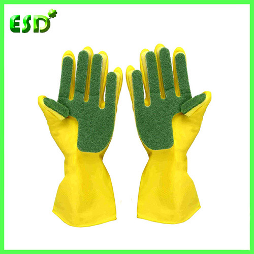 Cleaning Glove With Scouring Pad Sponge Gloves Latex