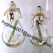 Clear 250ml Milky Tea Glass Bulb Lamp Shape Bottle With Stopper And Alumite