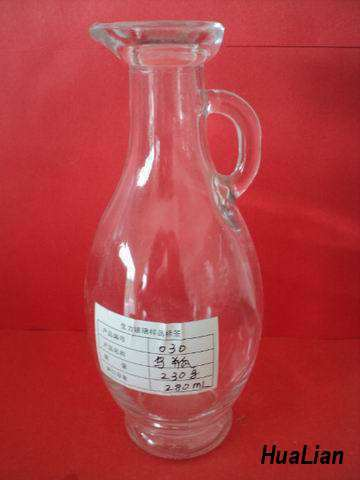 Clear Glass Liquor Bottle With Handle