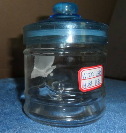 Clear Glass Storage Jar With Blue Hermetic Lid