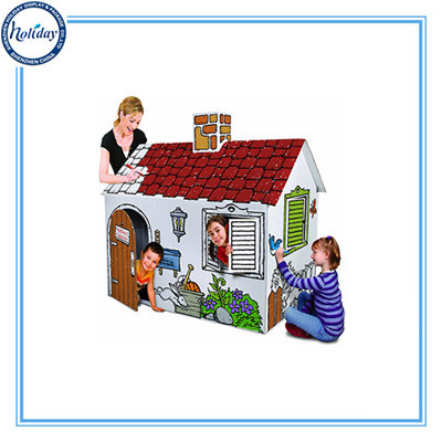 Corrugated Paper Foldable Kids Playhouse For Sales Diy Design Outdoor Large