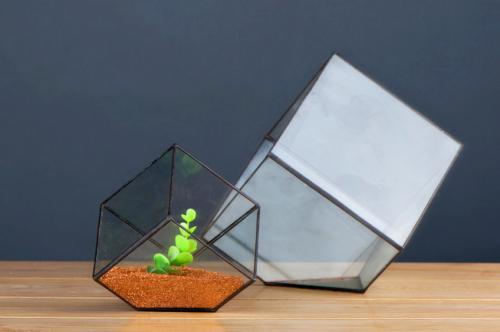 Creative Diy Succulent Plant Geometry Transparent House Glass Flower Pot B0