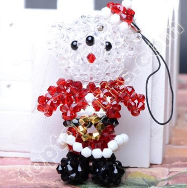 Crystal Beaded Christmas Teddy Bear Charms