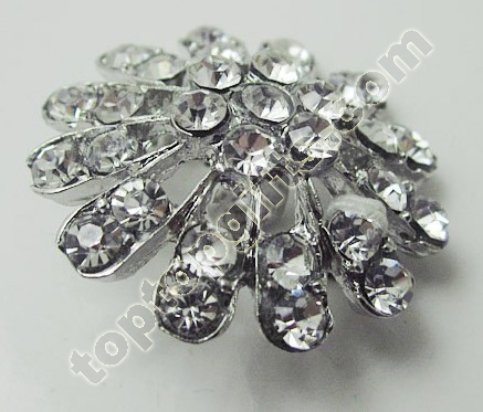 Crystal Rhinestone Flower Button