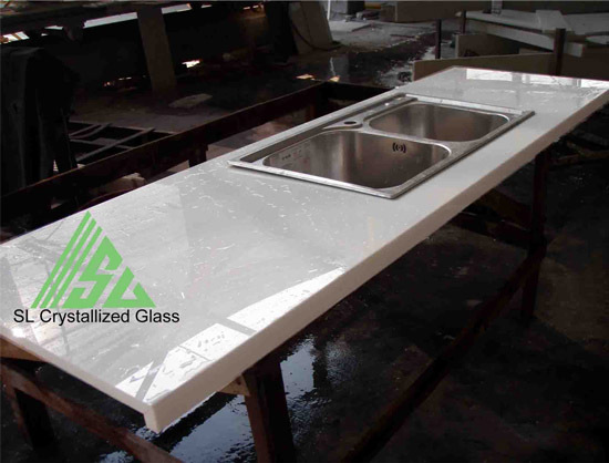 Crystallized Glass Kitchen Top
