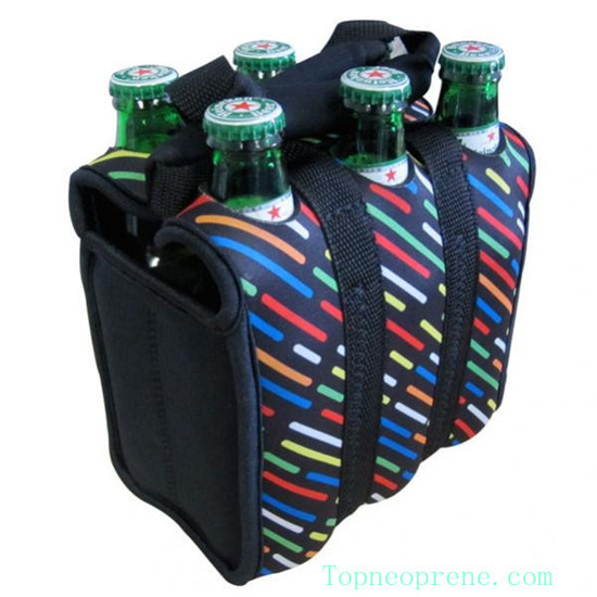 Custom 6 Pack Neoprene Beverage Beer Water Bottle Carrier Bag Cooler