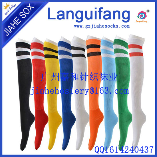 Custom Design Football Polyester Socks Knee High Cotton Soccer