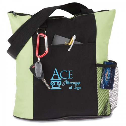 Custom Monogrammed Zippered Tote Bags With Mesh Pockets